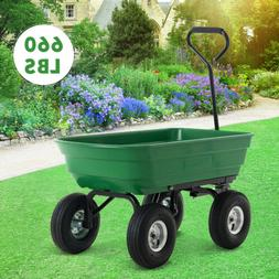 660lbs Garden Barrow Dump Cart Dumper Wagon Carrier Wheel Ai