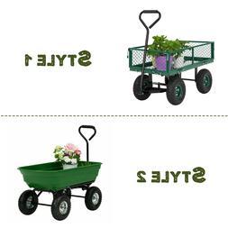 Garden Yard Lawn Dump Cart Dumper Wagon Carrier Utility Whee