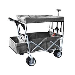 GREY FREE ICE COOLER PUSH AND PULL HANDLE FOLDING BABY STROL