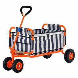 Heavy Duty Collapsible Folding Wagon W/ Liner Kids Garden Wh