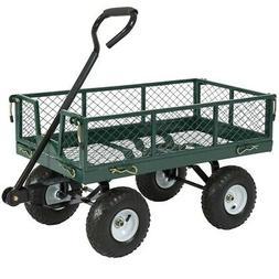 Heavy Duty Green Steel Garden Utility Cart Wagon with Remova