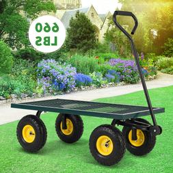660LBS Heavy Duty Utility Garden Wagon Nursery Cart Wheelbar