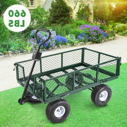 660lbs Heavy Duty Lawn Garden Utility Cart Wagon Wheelbarrow