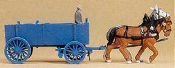 Horse Drawn Box Wagon w/Man HO Preiser Models