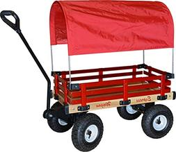 Millside Industries Wooden Express Wagon Full Red Canopy, 16