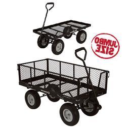 Jumbo Utility Cart 1400 Lb Garden Wagon Capacity Steel Mesh