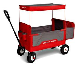 Kids 3-in-1 All-Terrain Folding Wagon with Canopy, Red