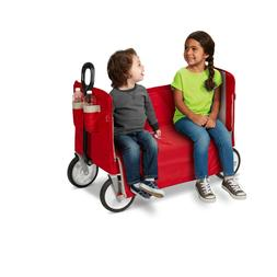 Kids Wagon 3-in-1 EZ Fold Seat Bench Red Smooth Ride On seat