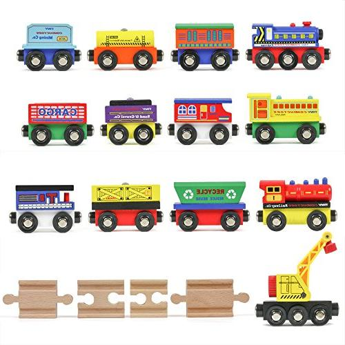 12 wooden train cars