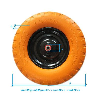 "16"" Flat Free Wheel Barrow Wheelbarrow Tire Solid Foam Wagon"