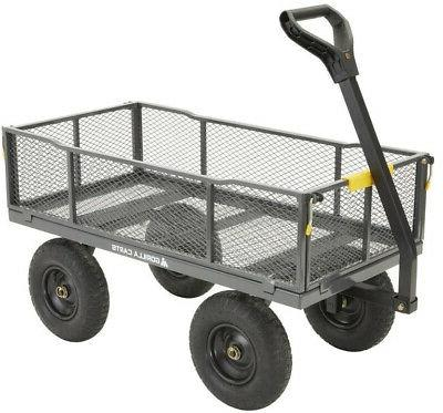 Gorilla Carts ft Steel Towable Wagon Carts Dump Utility