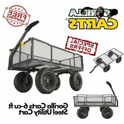 6 cu ft steel yard cart garden