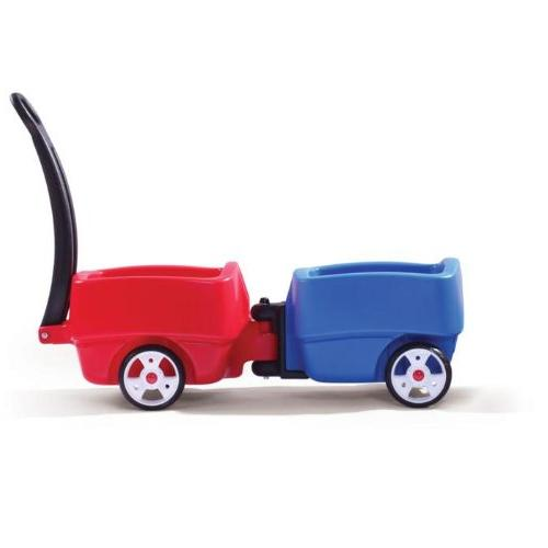 Step2 Wagons for Toddlers with Seat Molded-in Drink Plastic Ride-On Car Toys - Kids Choo Combo with Storage