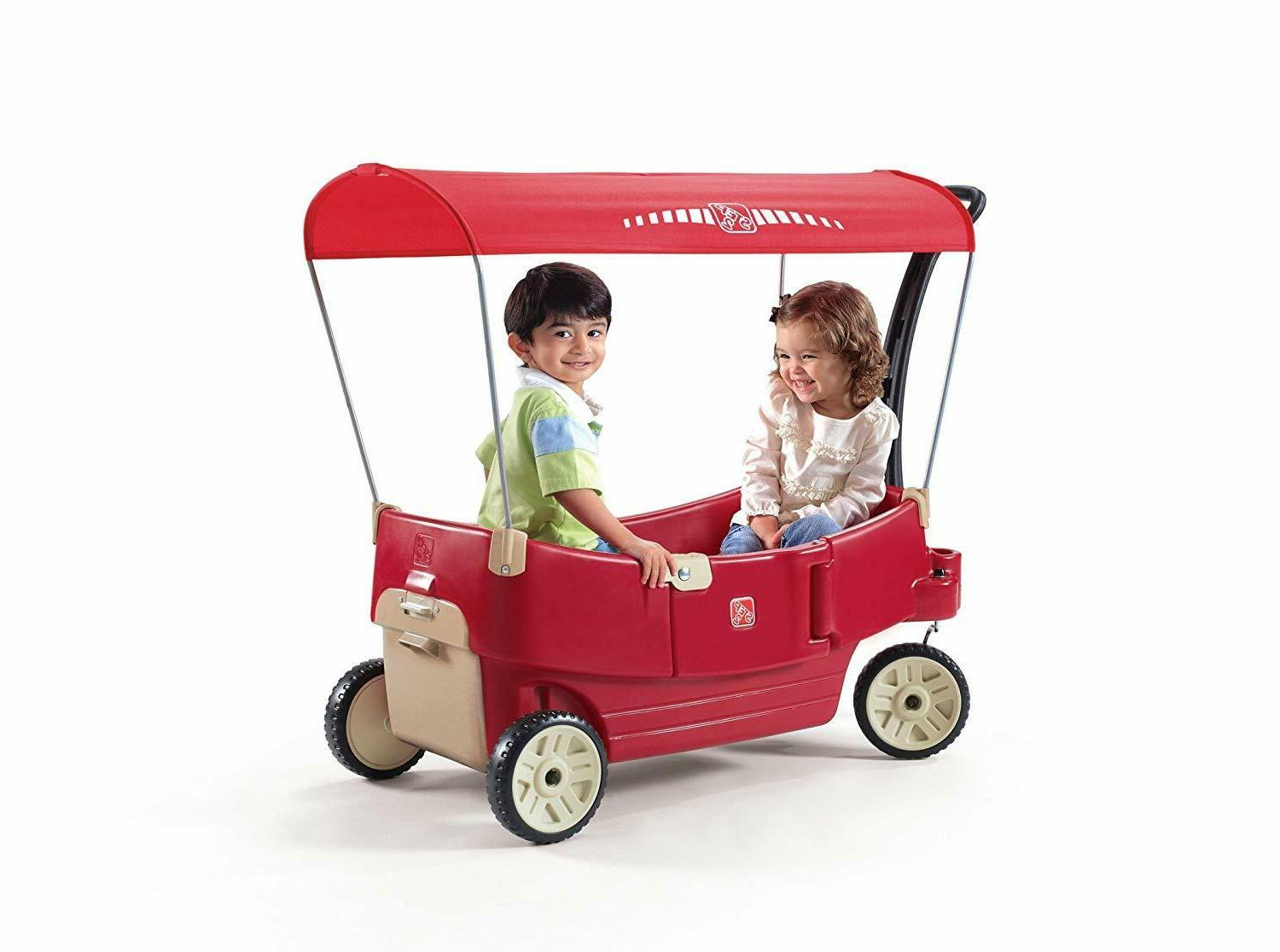 all around canopy wagon red