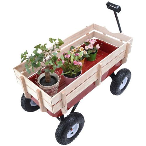 OUTDOOR PULLING KID CART W/WOOD RAILING RED