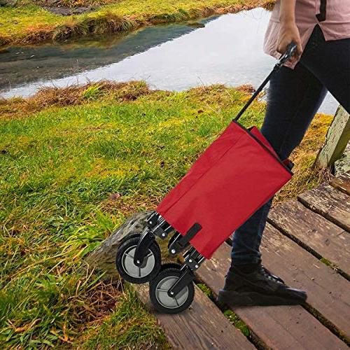 Timber Camping Folding Garden Heavy Utility Trolley, Wheels, Red