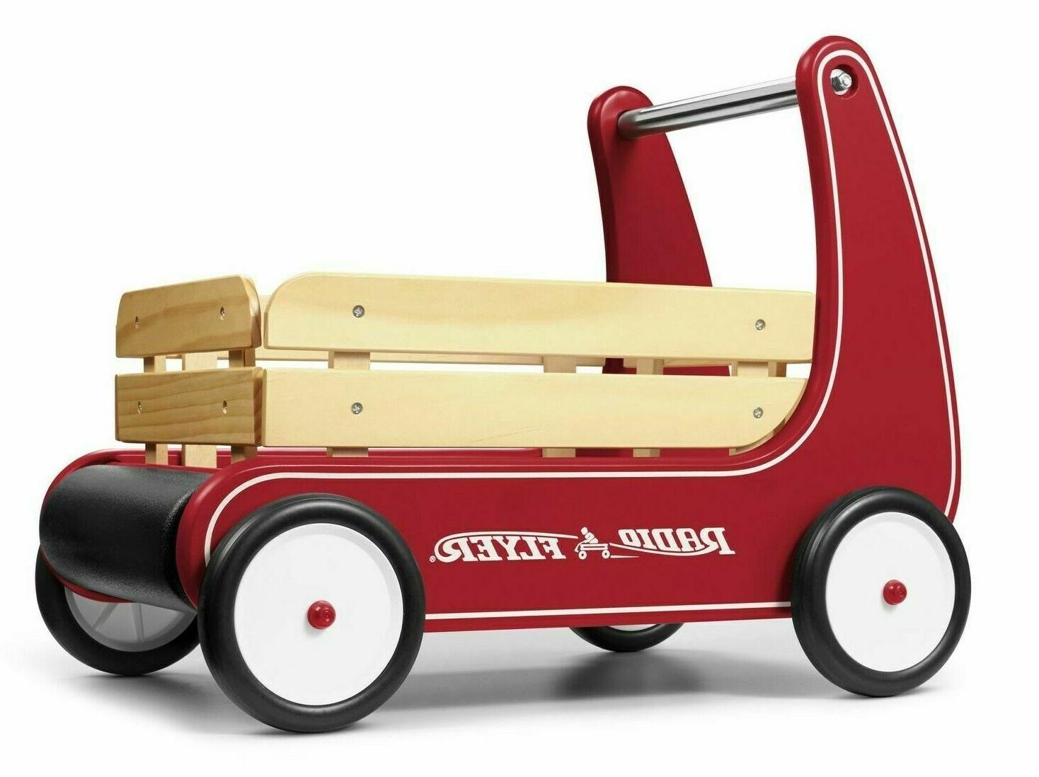classic walker wagon red push toddler wooden