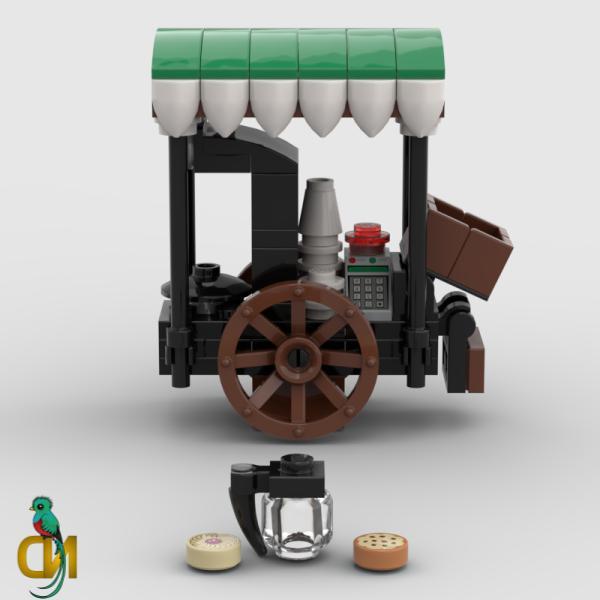 Lego Coffee Stall Food & Wagon Minifigure Shop MOC