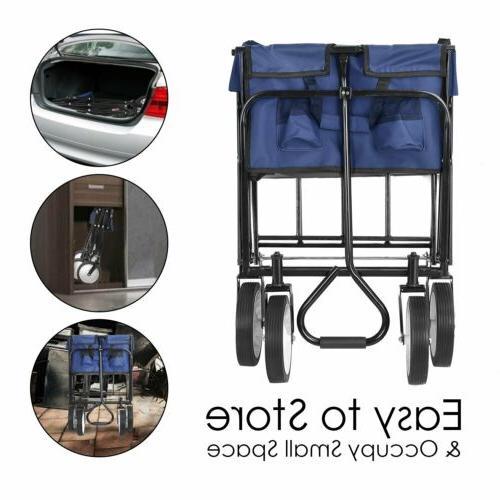 Collapsible Wagon Beach Camping Trolley Garden Cart Blue