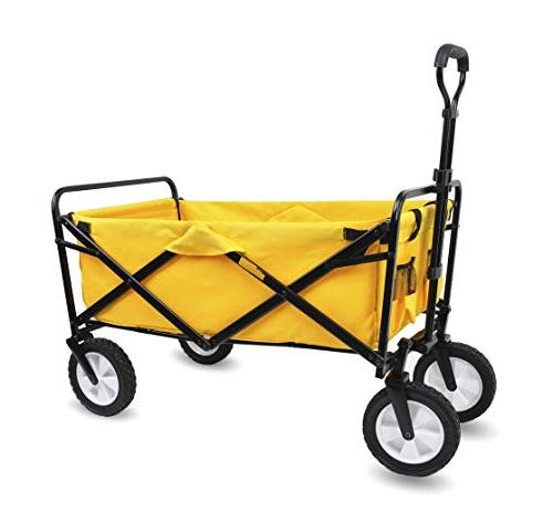 WHITSUNDAY Collapsible Foldable Garden Outdoor Park Utility Cart Gift Over 4.5 Cubic Feet Picnic Camping Wagon 8 Wheel Replaceable Cover Green
