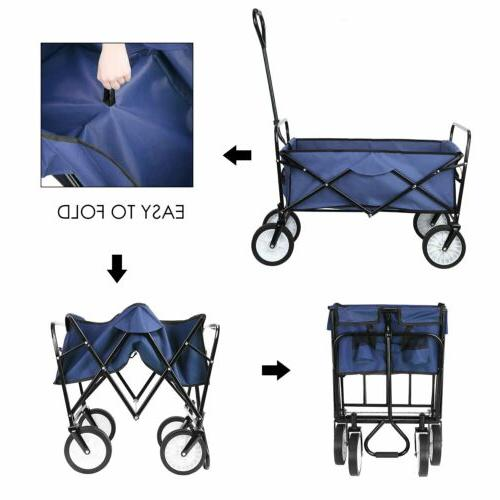 Collapsible Durable Folding Outdoor Utility Cart Navy