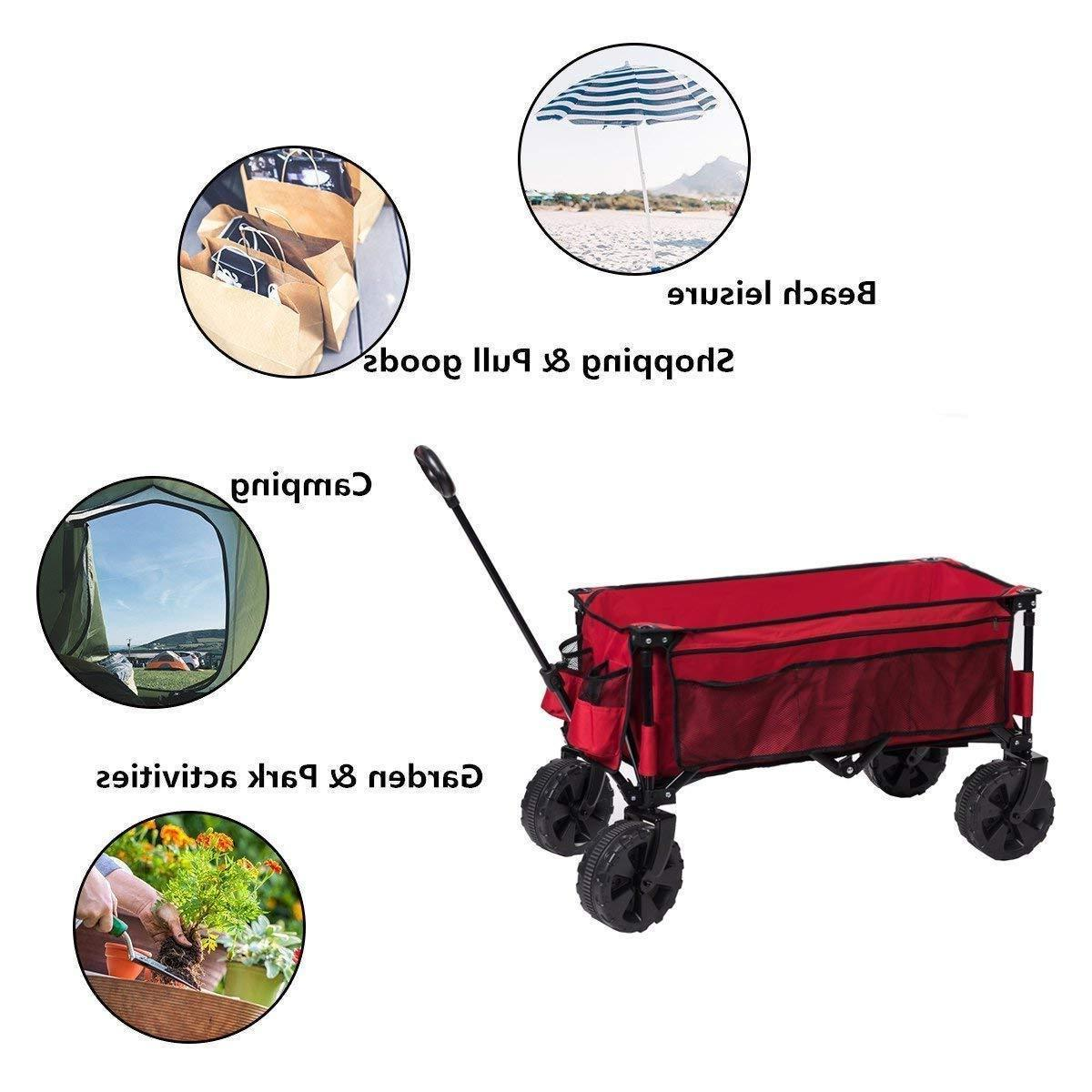 Collapsible Folding Cart Steel Wheels Camping