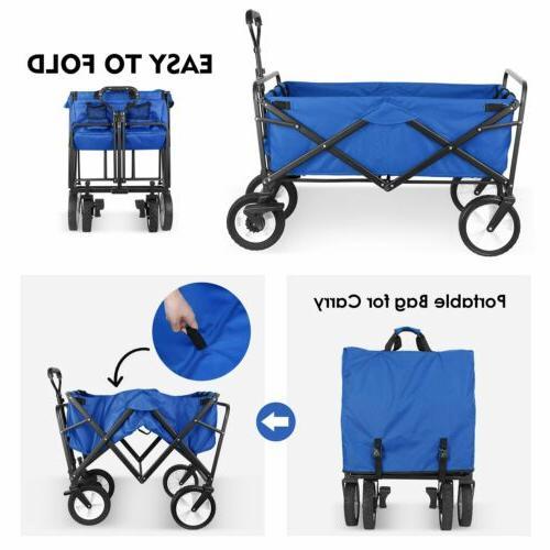Collapsible Folding Cart Utility Camp Sports Cart W/Brake