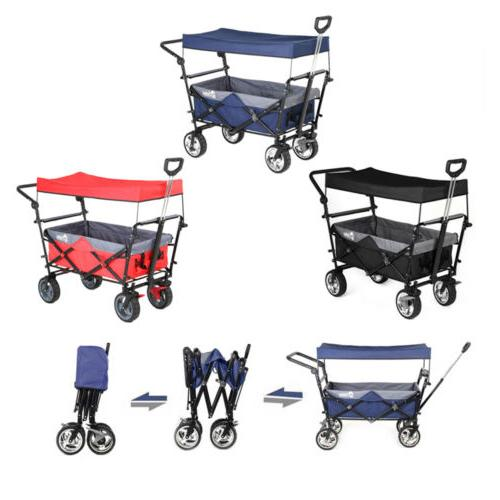 Folding Wagon w/ Canopy Garden Utility Travel Collapsible Ca