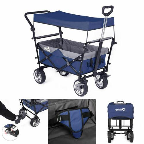 Folding Wagon with Canopy Heavy-duty Wheels Collapsible Outd