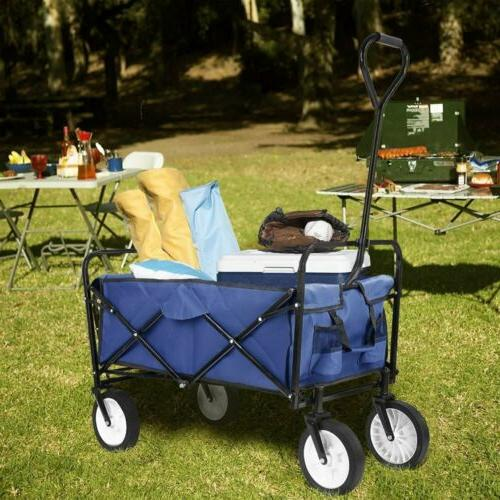 Collapsible Wagon Camping Trolley Cart Blue