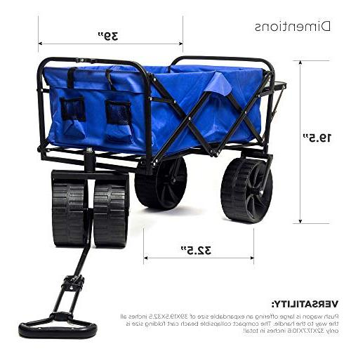 Collapsible Beach All-Terrain Foldable Beach with Big Wheels for Push Wagon, Cart for