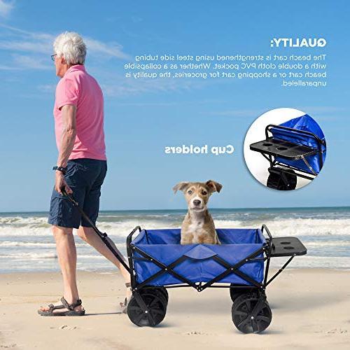 Collapsible Wagon Beach Cart, All-Terrain Beach Wagon Wheels Push Wagon, for