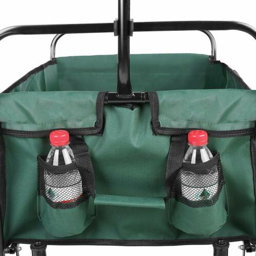 Portable Collapsible Utility Wagon Heavy Duty Folding Garden Trip