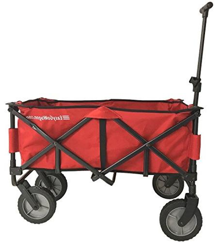 EasyGoWagon 2.0 Red Folding Wagon - Heavy Wagon Fits Trunk Standard Car