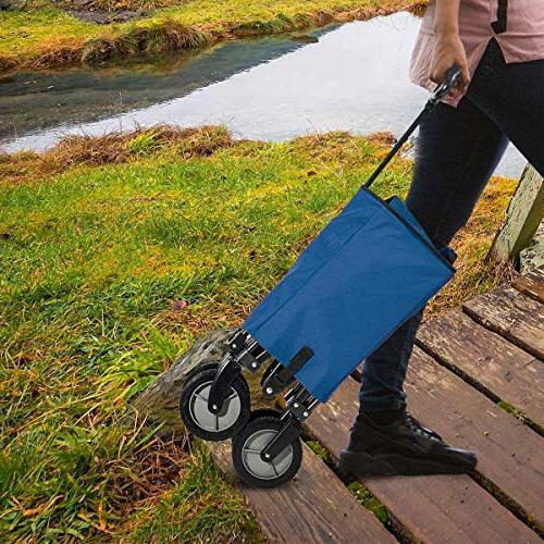 Timber Ridge Camping Wagon Folding Garden Heavy Duty Shopping Trolley, Side Bag, Blue
