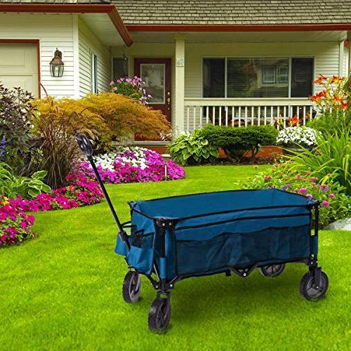 Timber Ridge Folding Garden Heavy Trolley, Side Blue