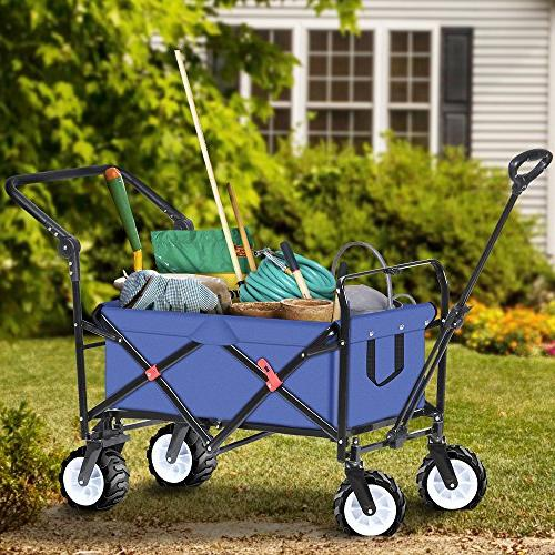Folding Push Wagon Cart Collapsible Camping Canvas Fabric Sturdy Rolling Lightweight Beach Sand Buggies Outdoor Picnic Cart Wagons
