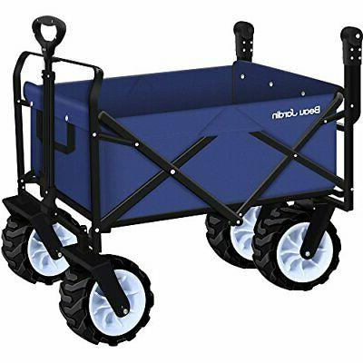 Folding Wagon Collapsible Camping Canvas Fabric Sturdy Portable Rolling Buggies Picnic Duty Cart