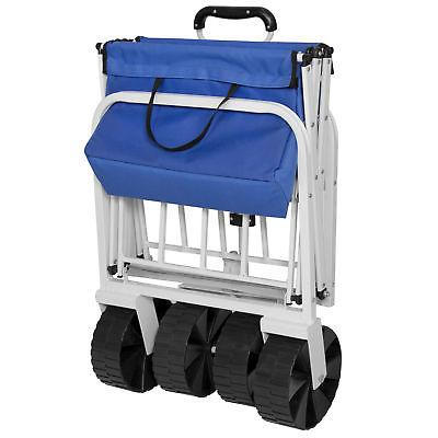 BCP Folding Utility Garden Beach w/ All-Terrain Wheels - Blue