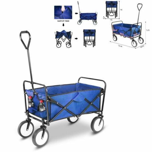 folding wagon heavy duty yard garden cart