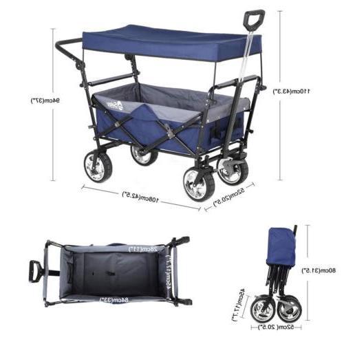Folding w/ Canopy Garden Cart Outdoor