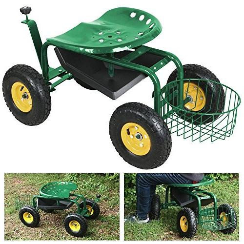 garden cart rolling work seat