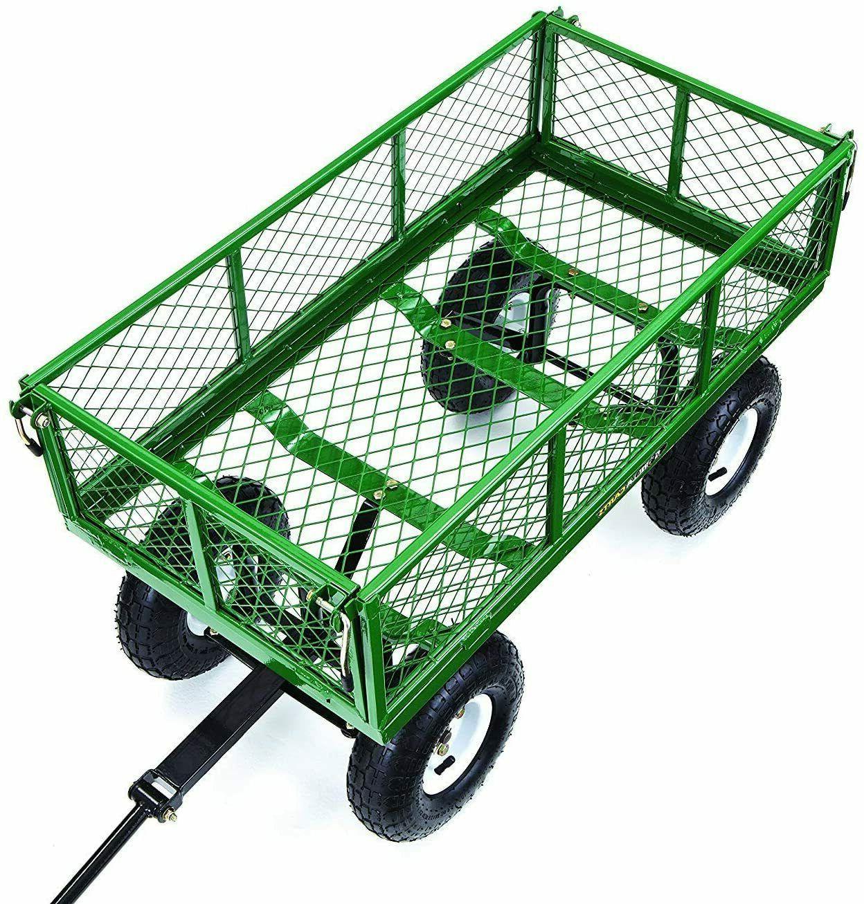 Garden Yard Dump Wagon Cart Cart Outdoor Steel Duty