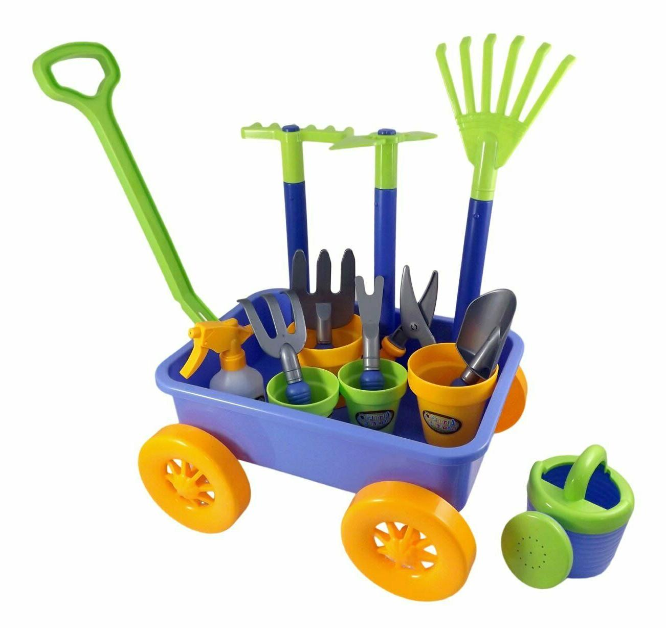 garden wagon and tools toy set