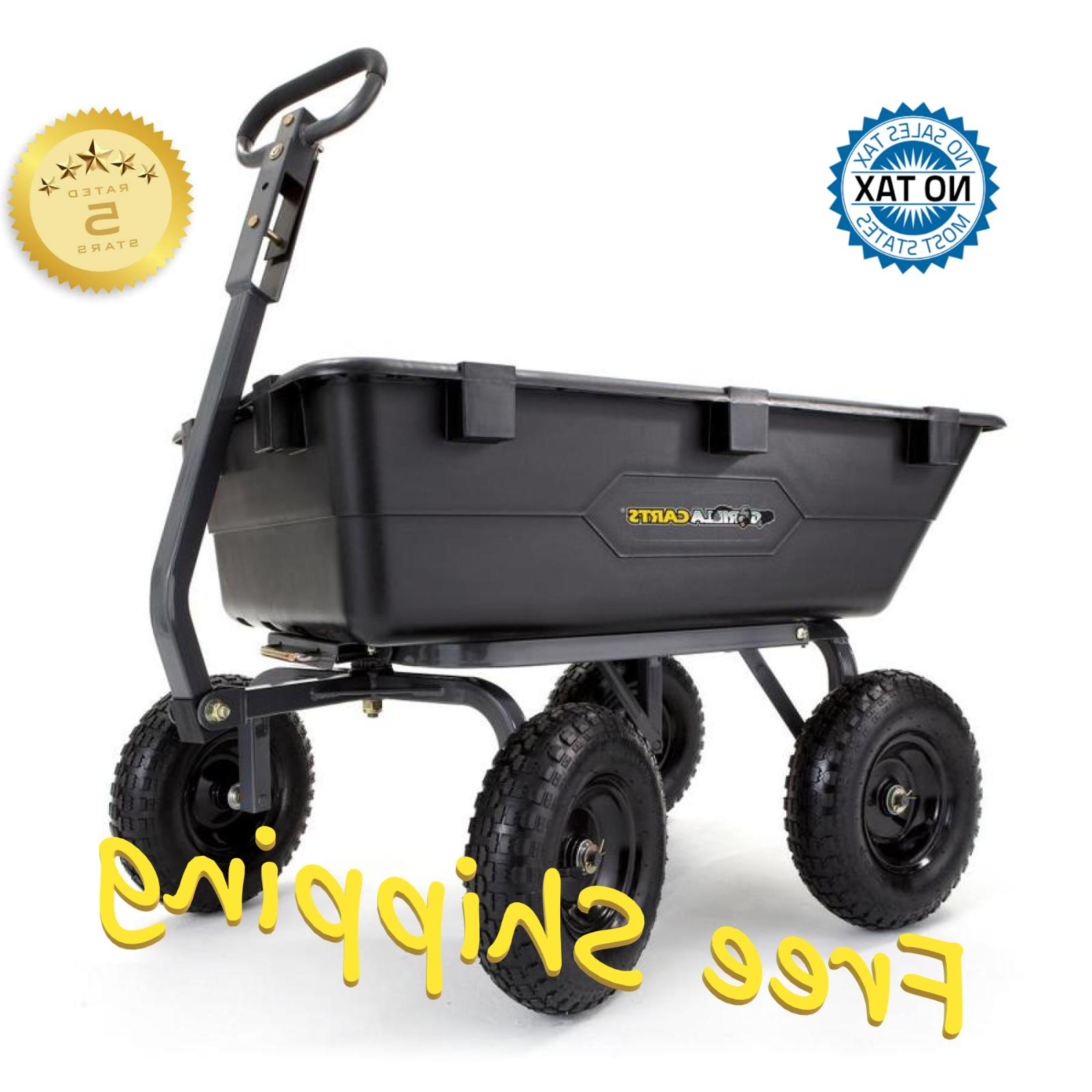 Gorilla Carts Heavy-Duty Garden Poly Dump Cart with 2-in-1 1,200-lb