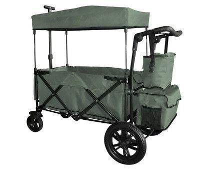 grey folding push wagon canopy