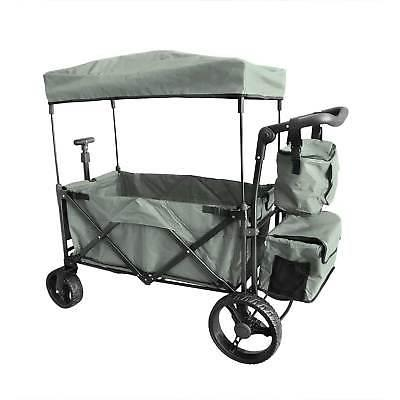 grey outdoor push foldable wagon canopy utility
