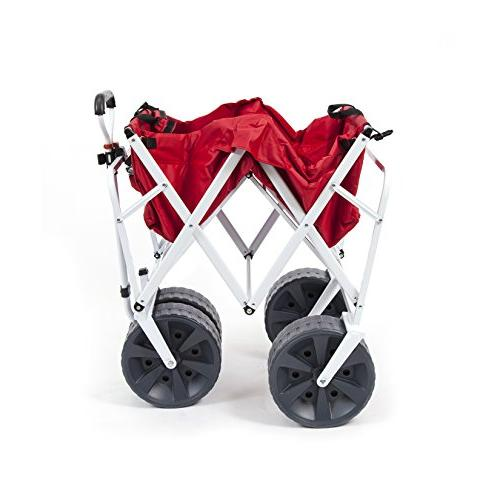 Mac Heavy Collapsible Folding Terrain Utility Wagon Beach - Red/White