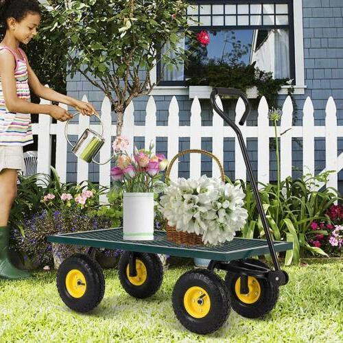 Heavy Duty Utility Garden Wagon Nursery Cart Wheelbarrow Ste