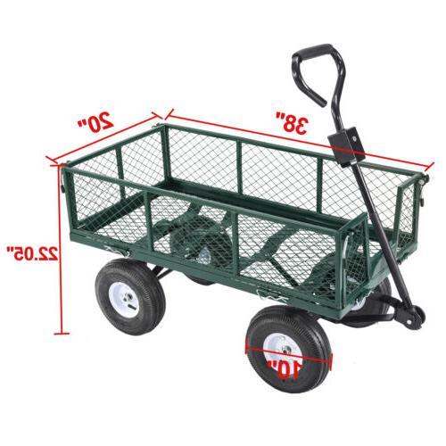 660lbs Heavy Duty Lawn Garden Wagon Wheelbarrow
